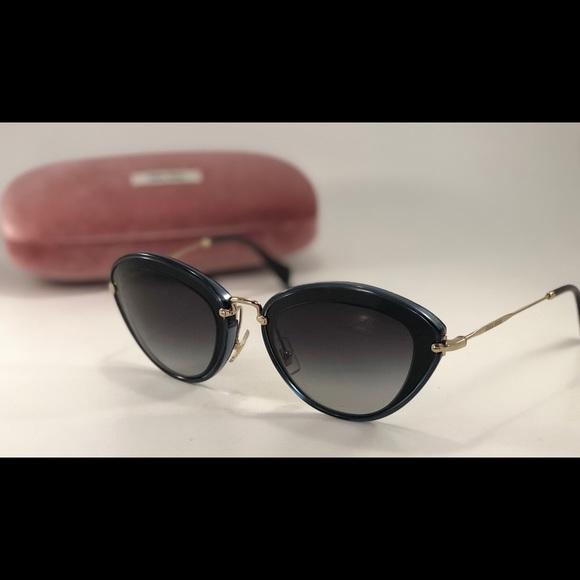 8e4122746d Miu Miu SMU 51R 1AB-5D1 Cat Eye Black Sunglasses